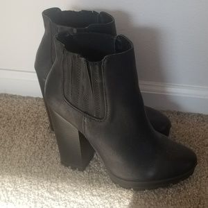 Faux Leather Candies Heeled Booties, Size 9